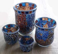 Windlicht Teelicht Mosaik blau rot Glas Teelichthalter Kerzenständer Hochzeit XL