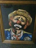 Signed Original Petrella Sad Clown EMMETT KELLY Oil Painting Framed  Vintage
