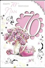 70th BIRTHDAY CARD TO NAN - AGE 70 - VASE OF FLOWERS, BAG