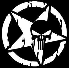 Army Star/Punisher Car Truck Window White Vinyl Decal Sticker Chevy Dodge Ford