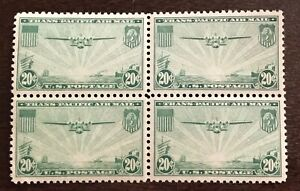 US - Air Mail China Clipper- 20 cent-green (block of 4) #C-21 MH-SCV $40