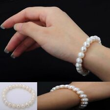 White 8-9mm Natural Freshwater Pearl Stretch Bracelet Bangle 7.5''