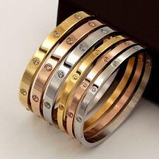 Men's Women Screwdriver Screw Steel Bangle Bracelet Silver Gold Black Rose Cross