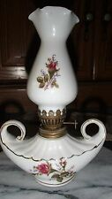 SMALL OIL LAMP, ALADDIN STYLE GENIE, HAND PAINTED ROSE BUDS, GOLD TRIM