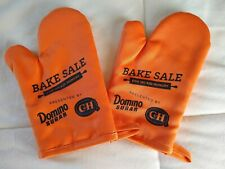 (Lot of 2) - Orange Oven Mitts Pot Holders Holder No Kid Hungry Bake Sale NEW