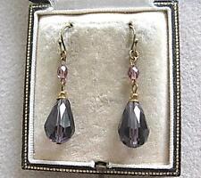 Superb Art Deco Shades of Amethyst Crystal Tear Drop Earrings