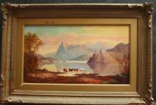 FINE c1876 LAKE DISTRICT SUNSET LANDSCAPE CATTLE WATERING Antique Oil Painting