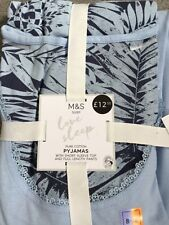 M&S PAIR OF SHORT SLEEVE PYJAMAS WITH LONG TROUSERS IN LIGHT/DARK BLUE -BNWT