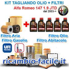 KIT TAGLIANDO ALFA 147 ROMEO UFI SOFIMA + OLIO MOTUL 8100 5W40 1.9 JTD 4 FILTRI