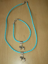Handmade Mastiff Dog Bracelet & Necklace Set Charm Pale Blue Puppy Dogue Bull