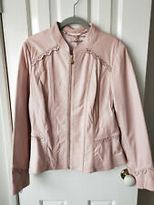 NEW Review Elizabethan Leather Soft Pink Gold Zip Jacket Size 16
