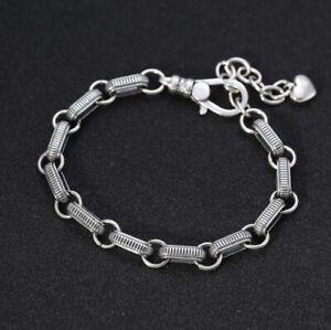 I07 Bracelet pour Femme Argent 925 Avec un Petit Cœur 18 CM