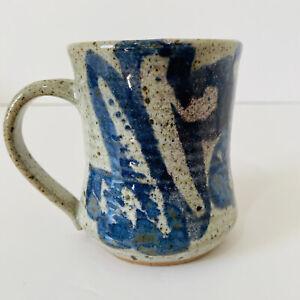 Vintage Studio Pottery Stoneware Mug Grey Blue Speckled Handmade Rustic Chunky