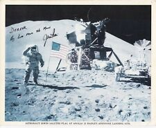 More details for apollo 15 - jim irwin hand signed photo saluting flag at  moon landing site.
