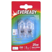 2 x Eveready G9 Eco 25W Halogen Bulb 250 Lumens 220V Clear Capsule Lamp