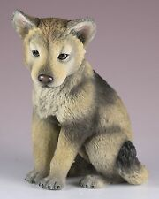 """Wolf Cub Pup Figurine 4.25"""" High - Highly Detailed Polystone New In Box"""