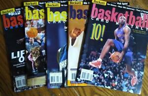 LOT of (5) VINTAGE Beckett Basketball Card Monthly 2000 & 2001 - no labels
