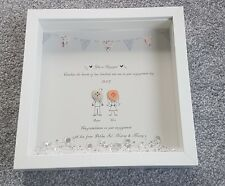 Engagement button Picture grey Present Gift Personalised keepsake