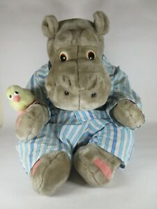 Vintage Silentnight Large Hippo in Pyjamas with Duck Plush Soft Toy 70cm 1987