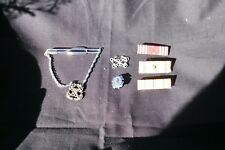 3-Vintage Military Ribbons,Tie clasp,Sterling Silver Anchor Charm&Pin,ca 1930ish
