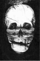 Framed Print - Gothic Grainy Scenic View of a Human Skull (Picture Poster Art)