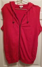 Vintage 80's NEIMAN MARCUS Red Zip Top ~ Sleeveless ~ Hooded Sweatshirt ~ M
