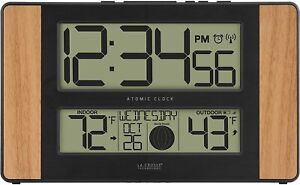 La Crosse Technology Atomic Digital Clock with Outdoor Temperature Oak