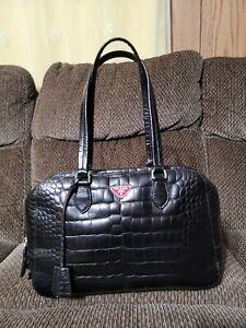 Prada Bauletto St. Cocco Lucido Crocodile Embossed Black Shoulder Bag Authentic