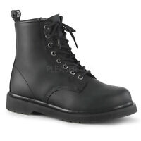 "Demonia Vegan Black 8 eye 1.25"" Heel Ankle Combat Boots Rocker Punk Mens 4-14"