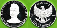 INDONESIA , SILVER 1000 RUPIAH 1970 GENERAL SUDIRMAN - PROOF - TOP GRADE , RARE