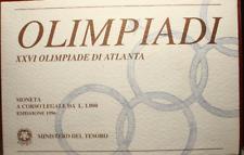 NL* ITALIA 1000 LIRE ARGENTO 1996 OLIMPIADI DI ATLANTA FDC SET ORIGINALE ZECCA