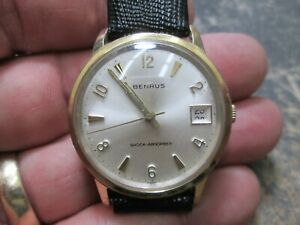 BENRUS GOLD FILLED STAINLESS BACK Running Mens WRIST Watch