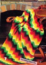 BRIGHT VANDYKE RUG - 8ply or D.K. - COPY crochet afghan patterns