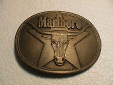 MARLBORO PHILIP MORRIS LONGHORN STEER CIGARETTE SMOKER MENS BRASS BELT BUCKLE