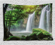 Green Tapestry Waterfall Nature Exotic Print Wall Hanging Decor 80Wx60L Inches