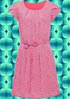 G290✪ Hippie Kleid mit Bindeband Blümchen Muster Festival pink blau Gr. 36