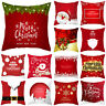 "18"" Christmas Cushion Cover Santa Claus Elk Pattern Square Pillow Case Sofa Car"