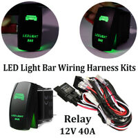 12ft LED Light Bar Wiring Harness Kit Fuse Relay ON/OFF 5Pin Rocker Switch Green