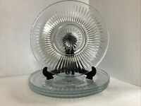 """Vintage Set Of Four 10"""" Clear KIG Malaysia Glass Dinner Plates Starburst Pattern"""