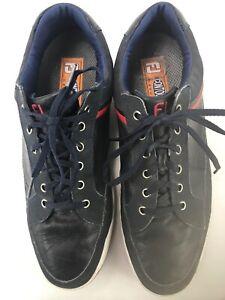 Footjoy FJ Contour Casual Mens Golf Shoes Blue Leather Soft Spikes Size 13M  SA4