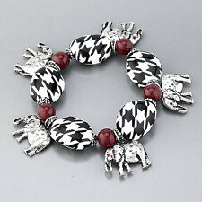 Hounds Tooth Burgundy Bead Silver Hammered Elephant Charm Stretchable Bracelet