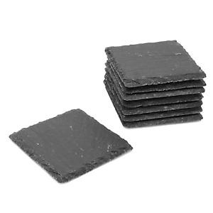 Pack of Slate Coasters Non-Slip & Heat Resistant Fine Cut Square M&W