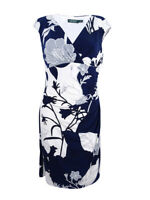 Lauren by Ralph Lauren Women's Petite Floral Sheath Dress (14P, Deep Sapphire)