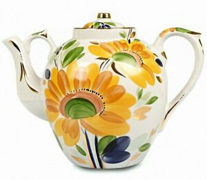 SUMMER MORNING Large Porcelain TEAPOT by Dulevo, Russian Handmade, 4.7 qt