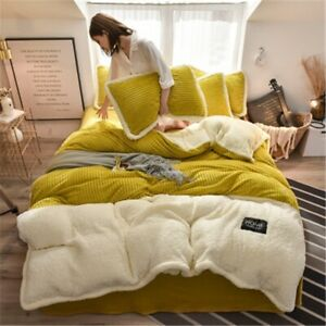 Fleece Bedding Set Solid Flannel Warm Duvet Cover Sheets Pillowcase Thick Double