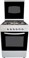 Cucina a gas 60x60 bianca grill e accensione elettrica coperchio in vetro