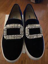Karl Lagerfeld ERMINE Crystal Embellish Dk Blue Velour/leather Slip Ons 9/40 EUC