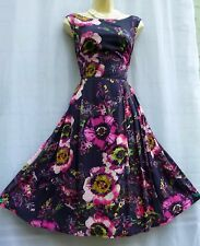 FANTASTIC MONSOON 'Daryn' SIZE 14 FLORAL PRINTED PURPLE 40'S/50'S TEA DRESS .