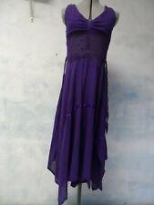 Vtg 1970s Halter purple Crinkle Gauze assymetric Cotton Crochet Dress sz 6