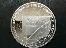 2007 Republic of Liberia Ratification of U.S. Constitution $20 Silver Coin A2442